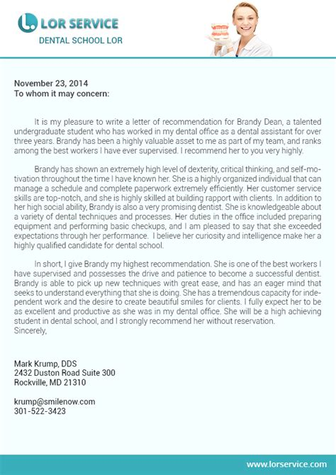 Recommendation Letter For Dentist Student Letter Of Recommendation For Dental School Writing Service