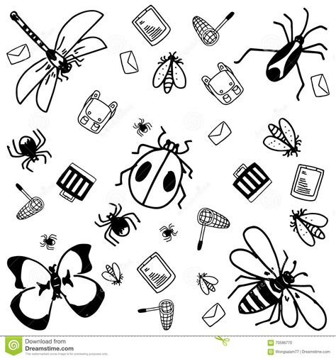 free doodle bug insects doodle for stock vector image of mail