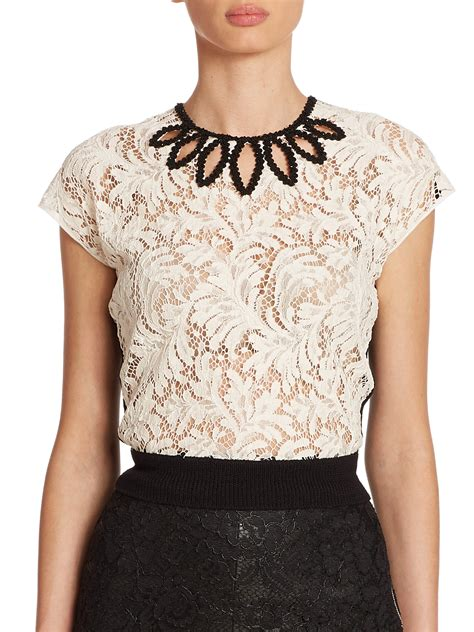Embellished Top lyst laurent lace wool embellished top in white