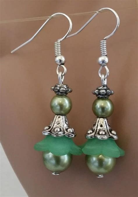 Handmade Wedding Jewelry - green pearl earrings glass bead drops handmade wedding