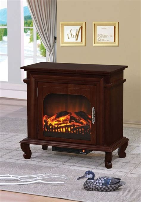 Acme Fireplace by Acme Furniture Jefrek Walnut Led Electric Fireplace