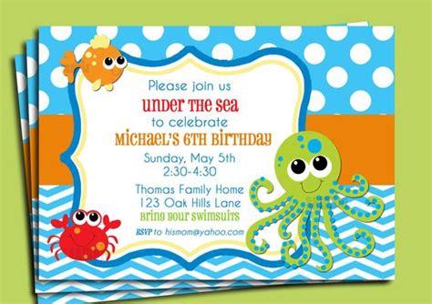 Under The Sea Invitation Printable Or Printed With Free The Sea Birthday Invitation Template