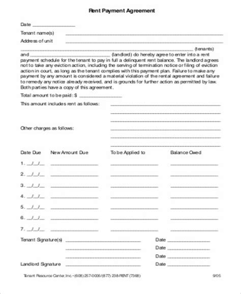 Rental Agreement Letter Between Parent And Child 9 Payment Agreement Form Sle Free Sles Exles Format