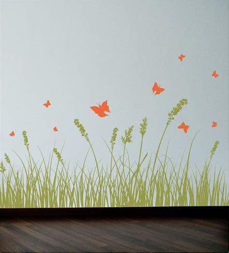 grass wall stickers grass and butterflies wall decal wall sticker