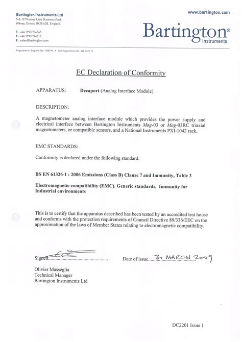 ec declaration of conformity bartington instruments