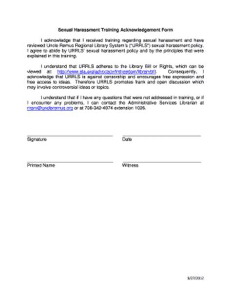 harassment acknowledgement of receipt form template sexual harassment letter template harassment complaint