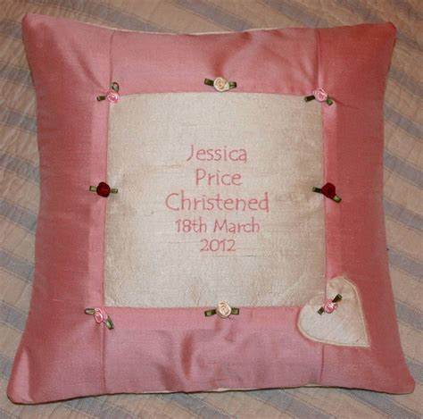 tuppenny house designs rose silk christening cushion by tuppenny house designs notonthehighstreet com