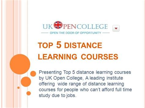 Distance Learning Mba In Uk Universities by Top 5 Distance Learning Courses Authorstream