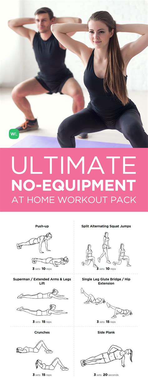 ultimate at home no equipment workout pack for