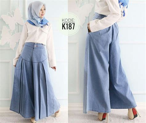 Celana Highwaist Rumbe Biru Tua kulot lipit dua k187 baju style ootd