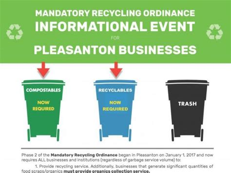 city of oakland mandatory garbage section pleasanton to host event on new recycling laws for