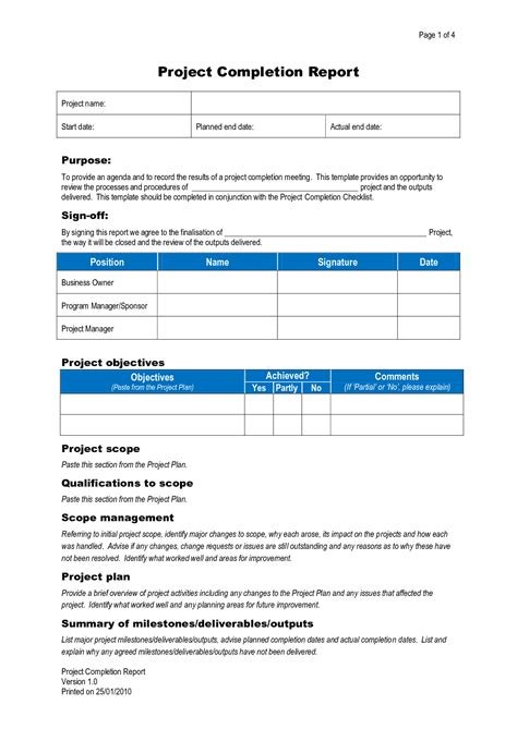 project completion report template best photos of completion report template