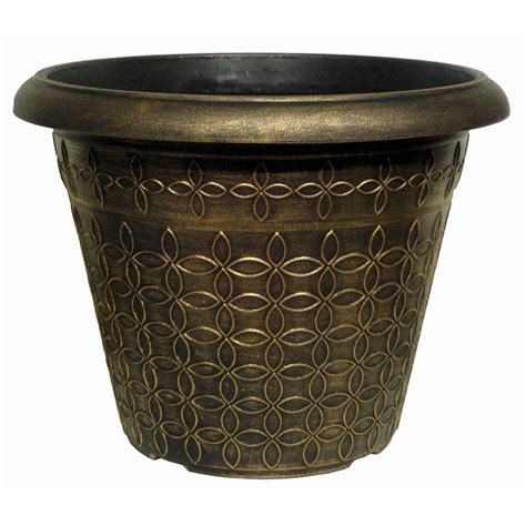 home depot large planters 17 9 in mod floral black bronze plastic planter dp844e bb the home depot
