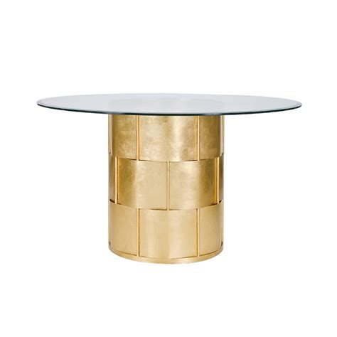 48 inch glass top dining table worlds away amanda gold leaf basketwave dining table with
