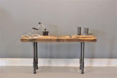 rustic industrial bench pipe legs reclaimed wood by dendroco