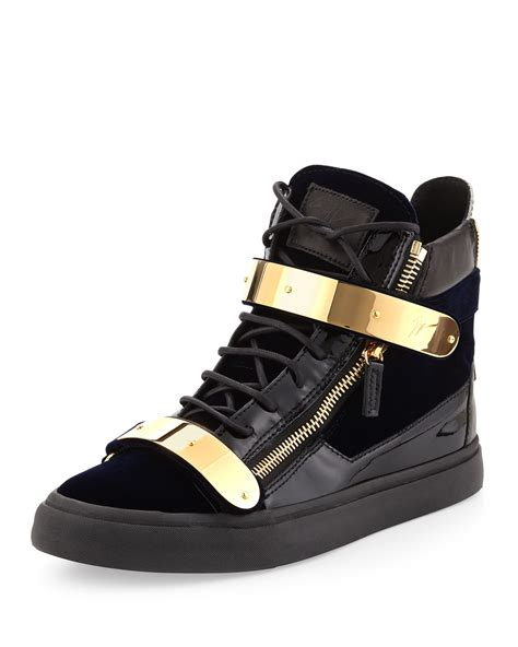 gold sneakers giuseppe zanotti velvet hitop sneaker with gold navy