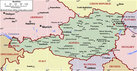 austria map with cities map of austria region geography political