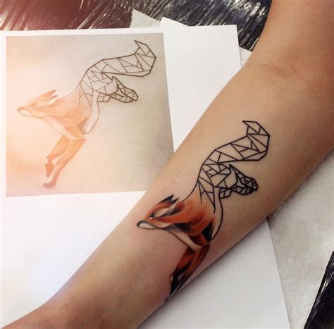 cute geometric fox on s forearm best tattoo ideas