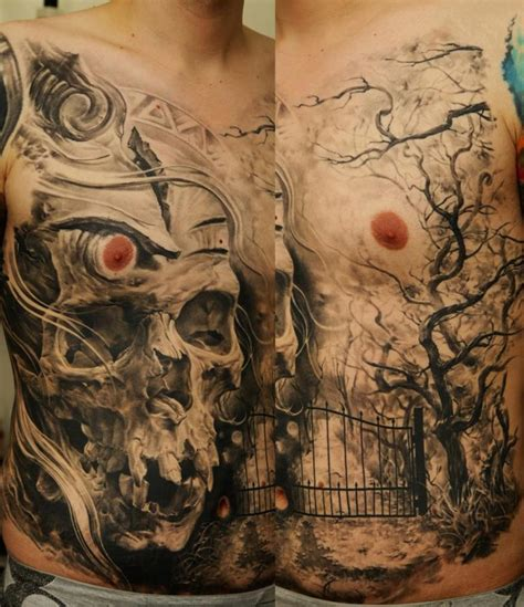 wicked tree tattoo designs scary whole front skull design of tattoosdesign