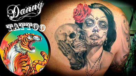 la catrina santa muerte danny tattoo timelapse youtube