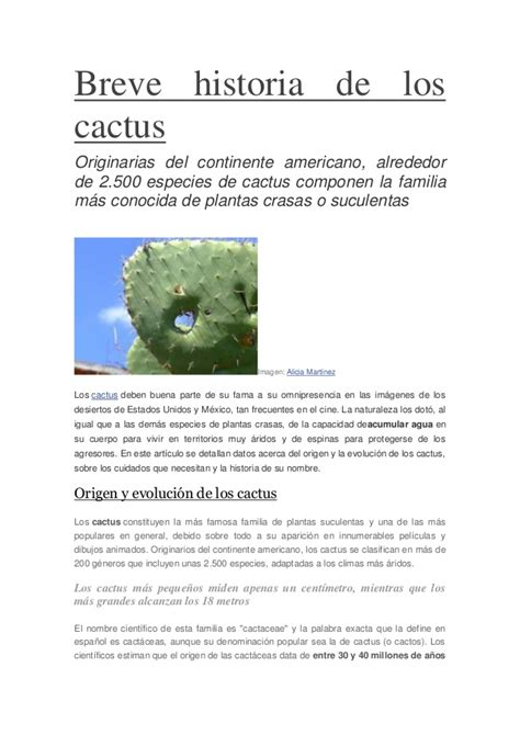 breve historia de los breve historia de los cactus