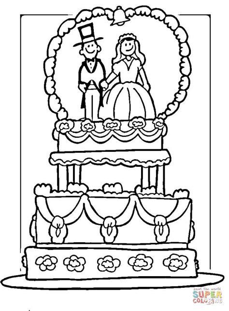 wedding cake coloring pages to print bruiloftstaart kleurplaat gratis kleurplaten printen
