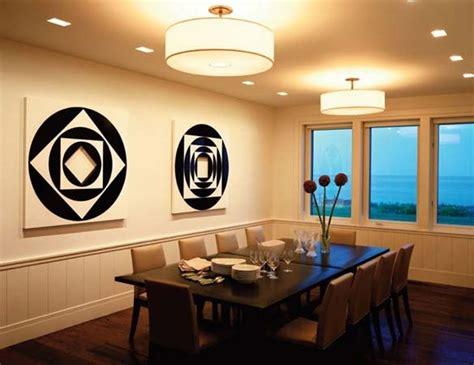 dining room lights for low ceilings unique geometric painting and white drum dining room