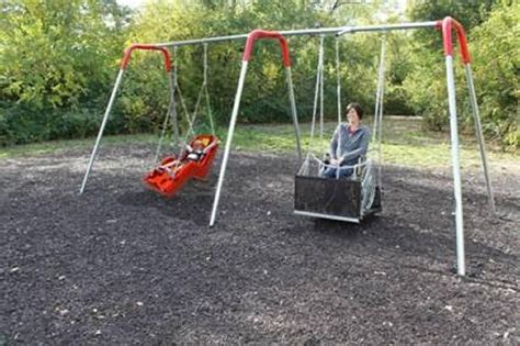 handicap swings two bay ada compliant wheelchair swing set with swings