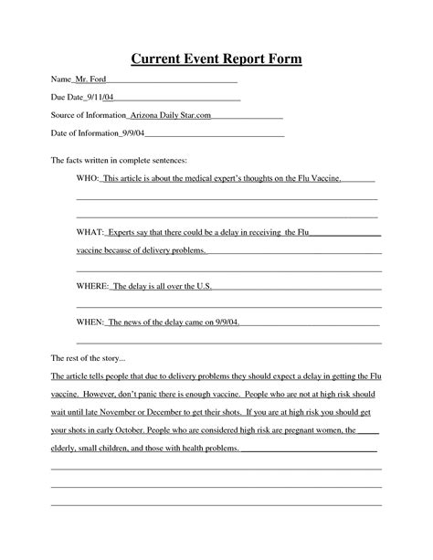 8 Best Images Of Weekly Current Events Worksheet Current Events Report Format Current Events Event Report Template