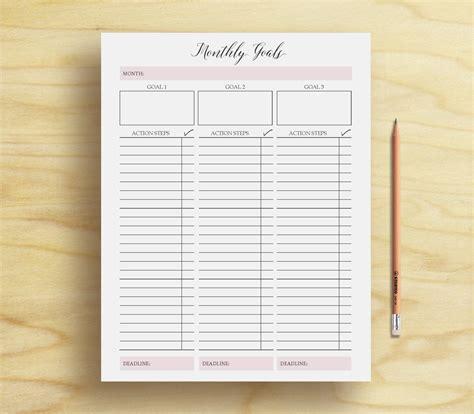monthly goal tracker goal planner printable goal template