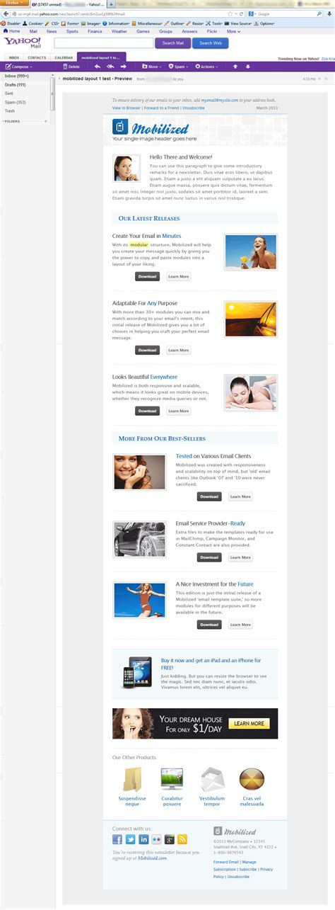 layout of yahoo mail mobilized i responsive modular email templates by