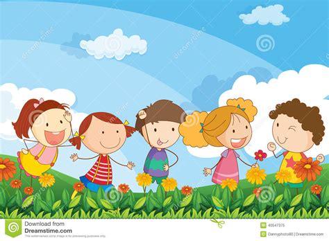 clipart bambini che giocano cinque bambini adorabili che giocano al giardino