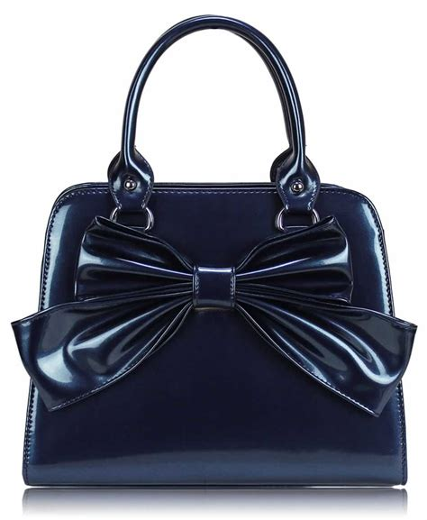 wholesale teal patent bow tote bag