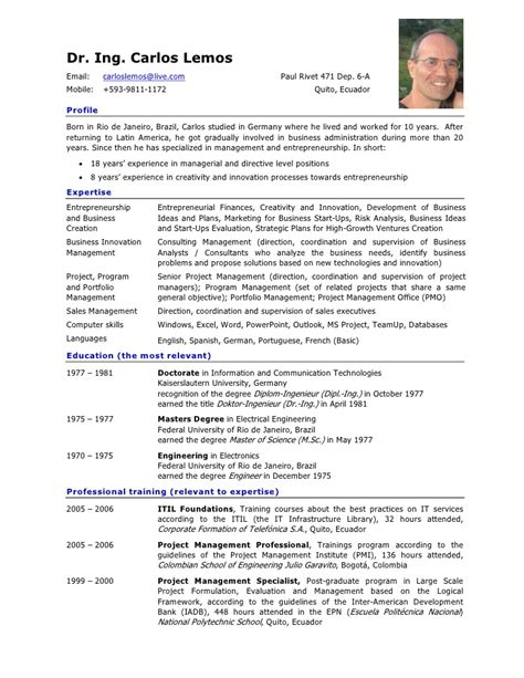 Resume Sample Marketing by Resume Of Carlos Lemos In English