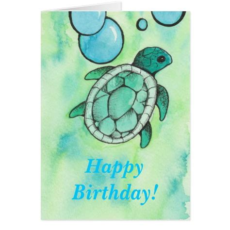 Turtle Birthday Card Turtle Birthday Greeting Card Zazzle