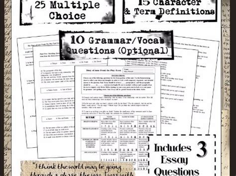 tes biography anne frank the diary of anne frank complete unit comprehension exam