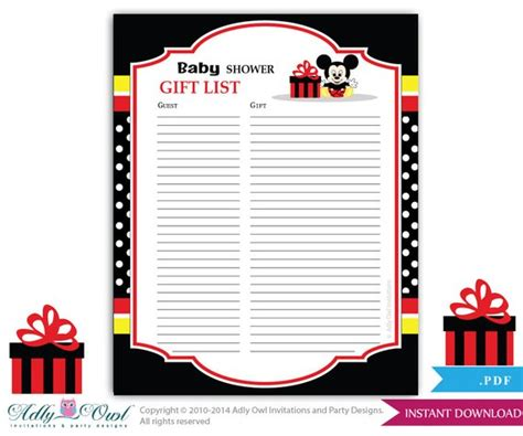 Baby Shower Guest List by Boy Mickey Mouse Guest Gift List Guest Sign In Sheet Card