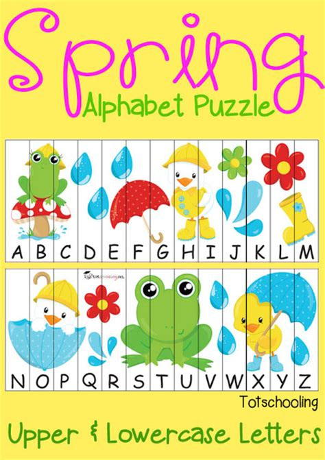 printable alphabet puzzles free spring alphabet puzzle totschooling toddler