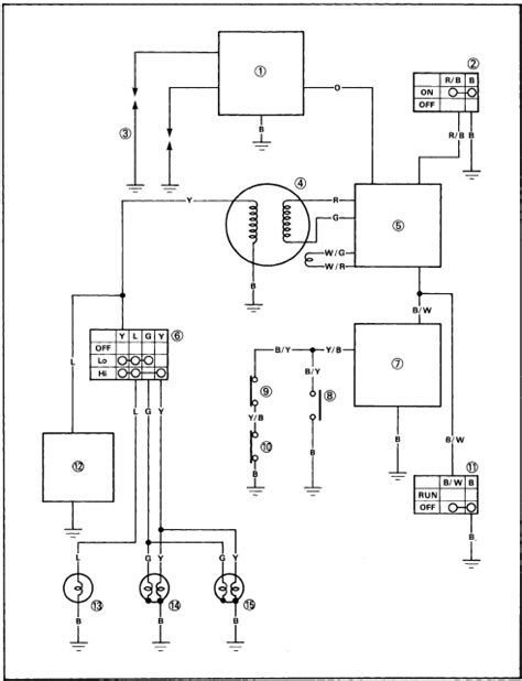 electrical circuit diagram 1997 yamaha yfz350t schematic