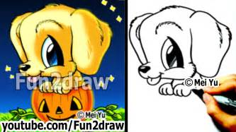 golden retriever puppy draw dog halloween pumpkin cute drawings