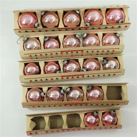 vintage shiny brite pink ornaments  fanci pak sleeves