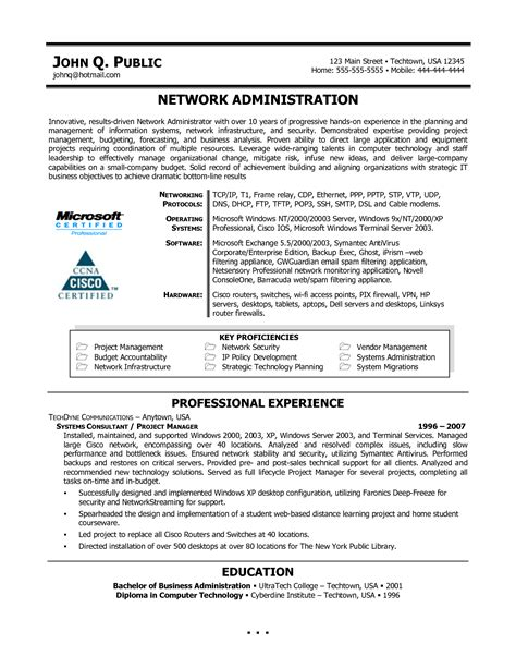 sle resume for experienced network administrator network systems administrator resume sales