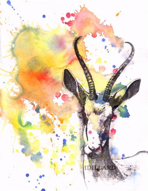 Gazelle Portrait Watercolor Painting Original Animal Animal Painting For