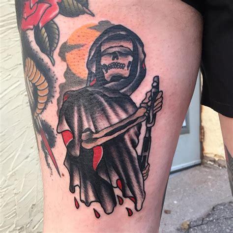 new school reaper tattoo traditional grim reaper with gun tattoo gary dunn art