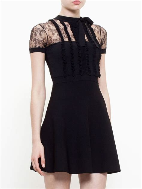 valentino lace panel skater dress in black lyst