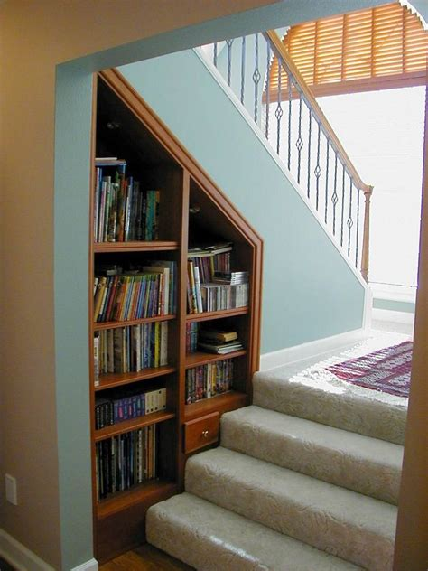 stairs home library design