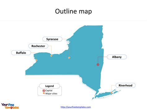 state of new york map with cities new york map templates free powerpoint templates