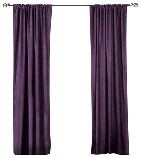 Purple Velvet Curtains Purple Rod Pocket Velvet Curtain Drape Panel Traditional Curtains By Indian Selections