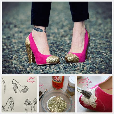 diy for shoes diy glitter shoes