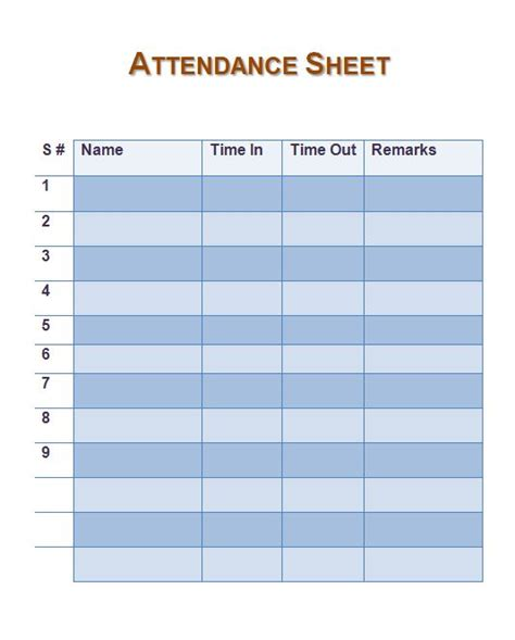 attendance sheet templates 38 free printable attendance sheet templates